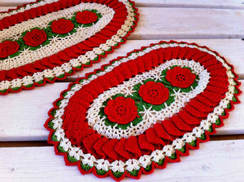 Ruffled Rose Hot Plate Mats - Doilies