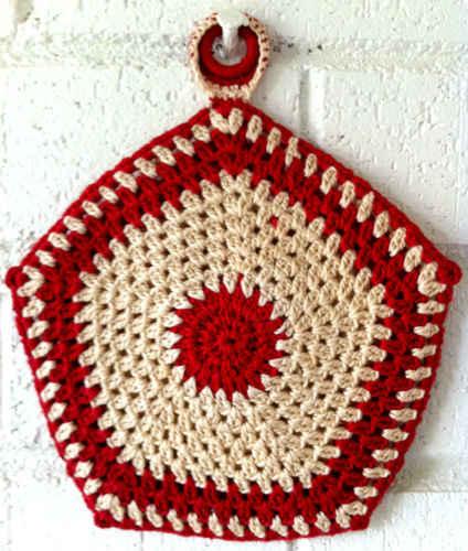 Five Sided Granny Potholder Free Crochet Pattern