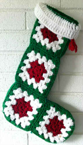 Easy Granny Square Christmas Stocking Free Crochet Pattern