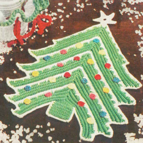 Free Crochet Cotton Christmas Patterns : Christmas Tree Potholder ? Free Crochet Pattern