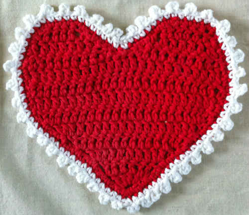 Best Free Crochet » #1 Valentine Heart Crochet Dishcloth