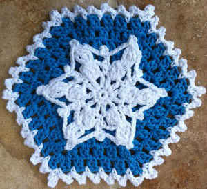#34 Snowflake Crochet Dishcloth