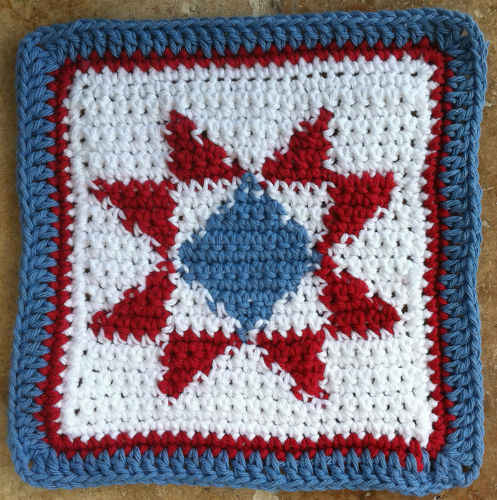 45 Quilted Star Crochet Dishcloth