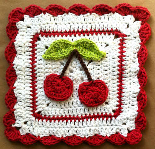 54 Cherry Crochet Dishcloth