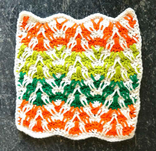 Free Crochet Mosaic Afghan Pattern : #124 Mosaic Plaid Ripple Crochet Dishcloth ? Maggie Weldon ...