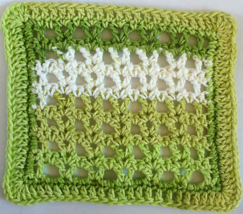 Crochet Stitches Dishcloths : 252 Striped V-stitches Dishcloth - Maggie Weldon Maggies Crochet