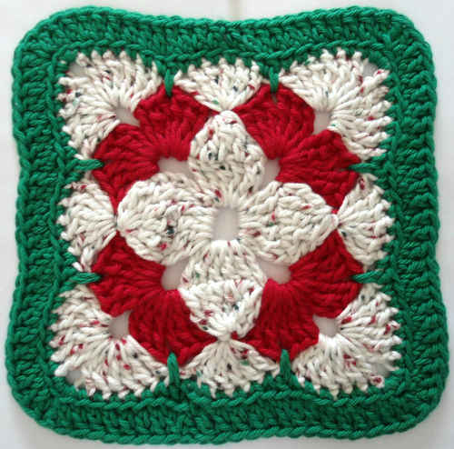 Free Crochet Patterns For Christmas Flowers : #279 Christmas Flower Crochet Dishcloth ? Maggie Weldon ...