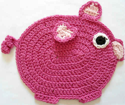 Free Crochet Dishcloth And Potholder Pattern : #298 The Little Piggy Crochet Dishcloth ? Maggie Weldon ...