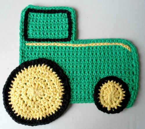 Crochet Pattern For John Deere Afghan : #314 Tractor ?John Deere? Dishcloth ? Maggie Weldon ...