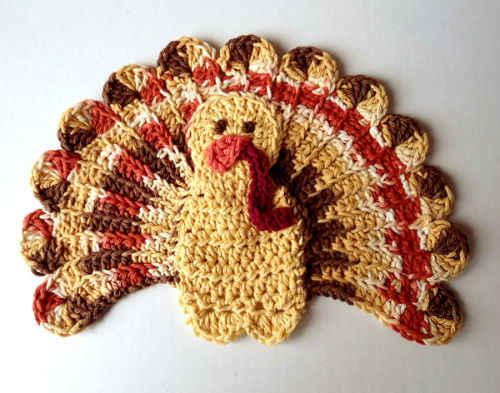 Free Knitting Pattern Turkey Dishcloth : #325 Thanksgiving Turkey Crochet Dishcloth   Maggie Weldon Maggies Crochet