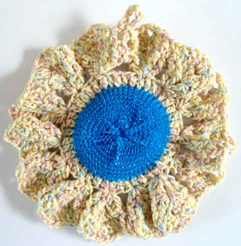 Free Crochet Patterns Flower Dishcloths : #332 Flower Scrubbie Dishcloth ? Maggie Weldon Maggies Crochet