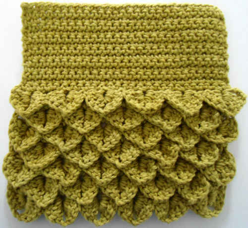 Free Crochet Stitches : ... 356 Crocodile Scrub N Wipe Dishcloth - Maggie Weldon Maggies Crochet