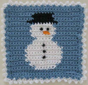 #363 Snowman Block Dishcloth ? Maggie Weldon Maggies Crochet