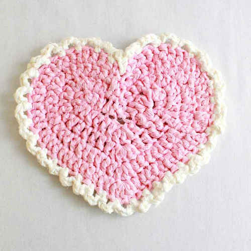 Free Crochet Pattern Pink Heart Placemat 68