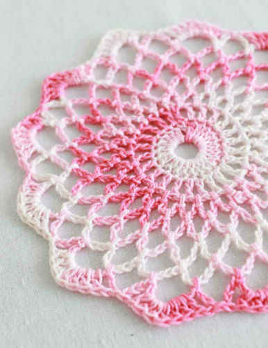 Free Crochet Stitches : Best Free Crochet 187 Free Crochet Pattern Shaded Pinks Doily 86