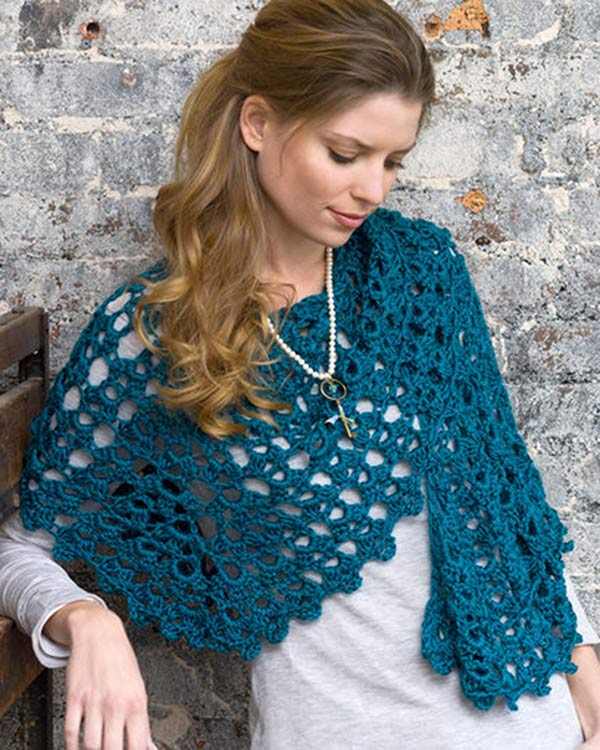 Free Crochet Pattern Graceful Shell Shawl From RedHeart.com
