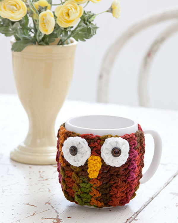 Free Crochet Pattern Owl Mug Wrap From Redheart
