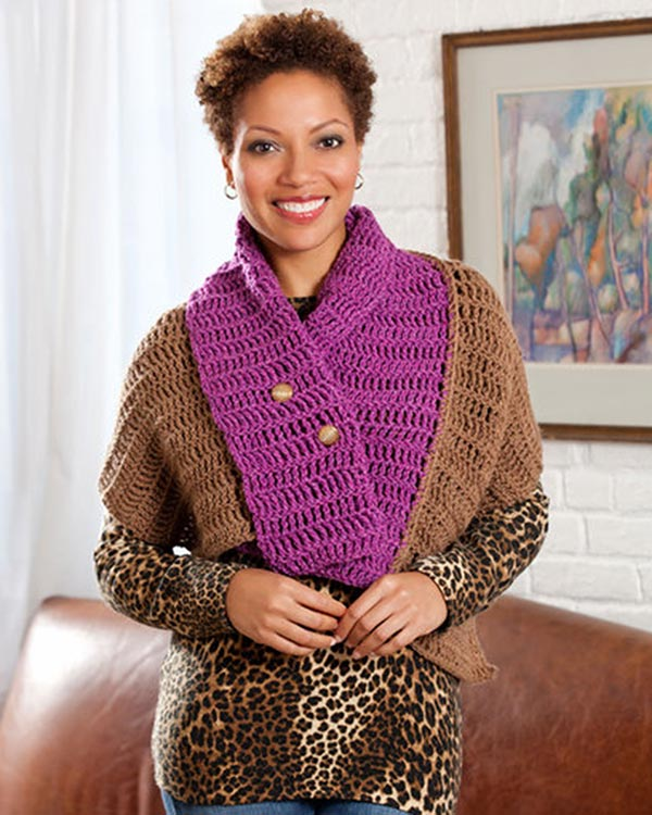 Free Convertible Cape Crochet Pattern from RedHeart.com