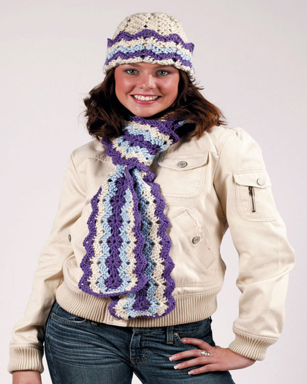 Crochet Patterns For Scarf And Hat : Free Ripple Hat and Scarf Crochet Pattern from RedHeart.com