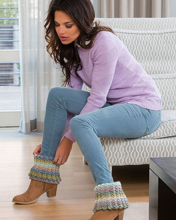 Free Crochet Pattern Warm Ribbed Boot Cuffs From Redheart