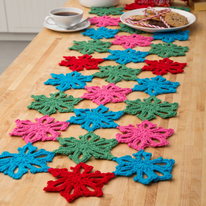 Free Snowflake Table Runner Crochet Pattern From Redheart