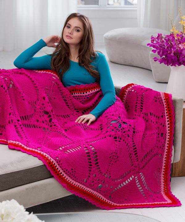 Free Love My Valentine Throw Crochet Pattern From RedHeart Awesome Red Heart Free Crochet Patterns