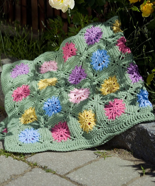 Free Crochet Flower Field Afghan Pattern from RedHeart.com