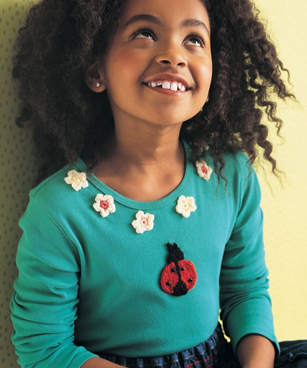 Free Ladybug Flowers Applique Crochet Pattern From Redheart