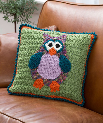 Free Crochet Owl Cushion Pillow Pattern : Free Whimsical Owl Pillow from RedHeart.com