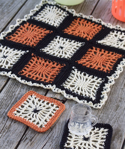 spiderweb coasters halloween table center
