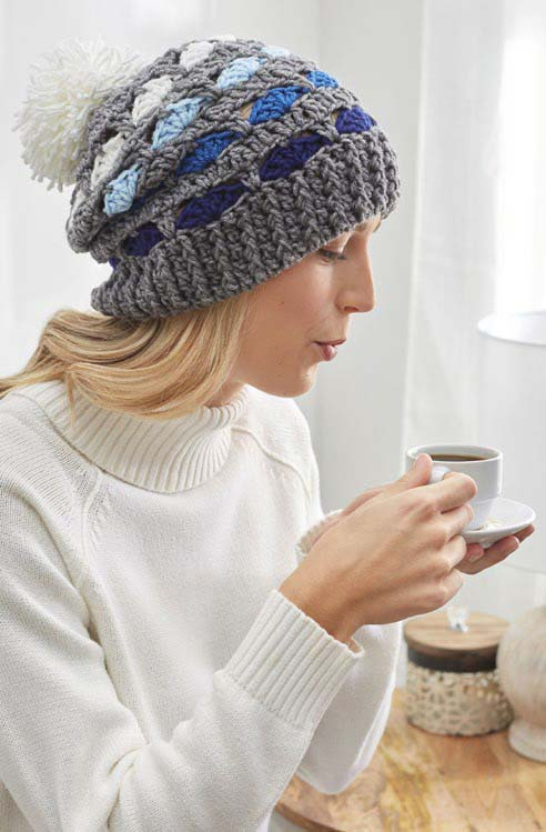Free Striping Shells Hat Crochet Pattern From Redheartcom