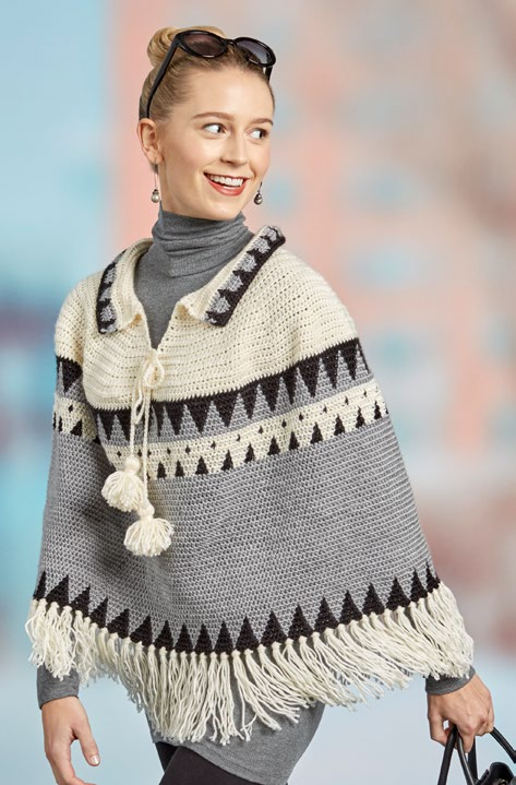 Free Canyon Ridge Fringed Poncho Crochet Pattern from www.RedHeart.com