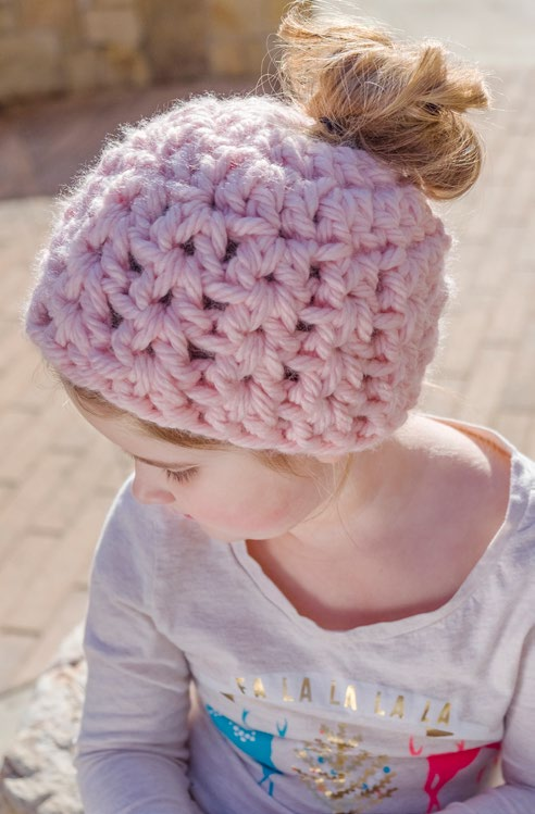 LW5607-Childs-Messy-Bun-Hat-Free-Crochet-Pattern