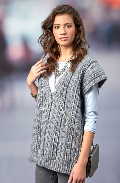 Free Deep Vee Vest Crochet Pattern From Redheart